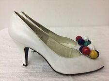 Stuart Weitzman for Mr. Seymour Vintage white leather Pumps Shoes Size 8 B