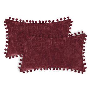 """2Pcs CaliTime Burgundy Pom Poms Bolster Pillow Case Shells Solid Chenille 12x20"""""""