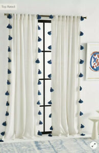 "NEW Anthropologie Mindra Curtain Panels Gray Stripe Tassel 50x108"" 2 Panels Set"