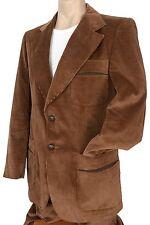 Vtg 70s Mens BROWN CORDUROY SUIT Retro Hippy Sportcoat Jacket Flared Pants 38R