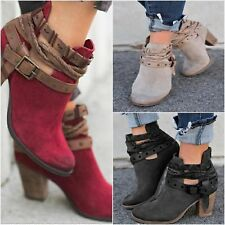 Womens Ladies Ankle Boots High Block Heel Buckle Lace Up Casual Party Shoes Size