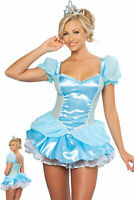 Women Sexy Blue Princess Fancy Dress Party Cosplay Halloween Costume Adult Hot