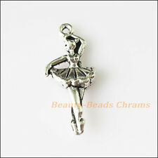 4Pcs Antiqued Silver Tone Dancing Girl Charms Pendants 13.5x31mm