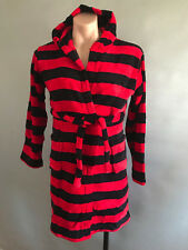 BNIP Boys Size 10 Super Soft Thick Fluffy Red/Black Stripe Warm Dressing Gown