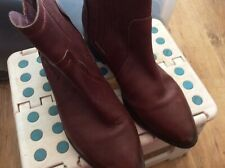LADIES SUPERDRY RED LEATHER UK4 PULL ON ANKLE WALKING TROUSER BOOTS