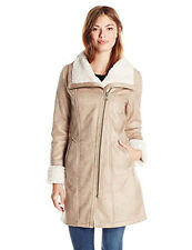 New Seven For All Mankind Women's Faux Shearling Coat Size Large Soft Vegan Tan
