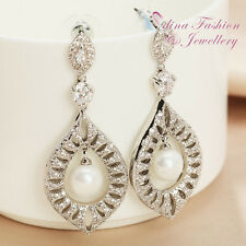 18K White Gold Plated Luxury Diamond Studded Esperanza Shape Pearl Drop Earrings
