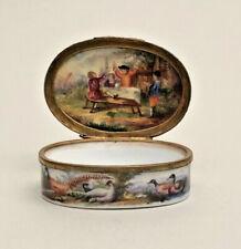 Rare Antique German 18thc porcelain Tabatiere snuff box birds chicken victorian