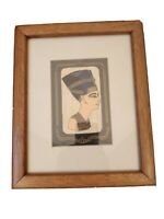 "Vtg Framed Egyptian Handpainted Art on Papyrus 11.5"" x 9.5"" Wall Hanging"