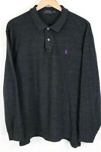Polo Ralph Lauren Mens Sz XL Black Mesh Long Sleeve Shirt Purple Pony