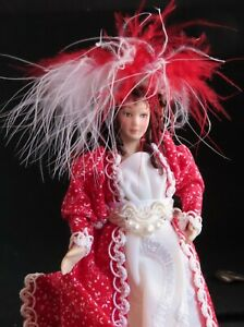 Doll Woman in Red & White Victorian Dress Feathered Hat 1:12 Miniature OOAK 2682