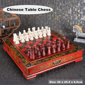 Chinese Large Wooden Table Chess Set Folding Chessboard Pieces Wood Board Gift