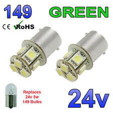 2 X 24V GREEN LED BULBS CAPLESS 149 R5W 246 R10W SIDE LIGHT PLATE INTERIOR