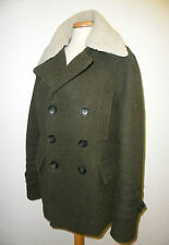 MEN'S ENGLISH LAUNDRY KHAKI WOOL REMOVABLE COLLAR MILITARY VINTAGE LOOK COAT M