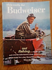 1963 Budweiser Beer Ad  Guy out  Fishing Lake Boat 1963 Marlboro Cigarette Ad