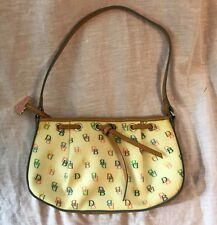 Dooney & Bourke Monogram DB Leather Coated Canvas RIRI Zipper Heart FOB Bag