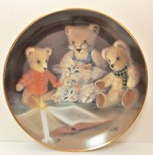 Franklin Mint Ltd. Ed. Sue Willis Numbered Plate Story Hour Teddy Bear Kitten