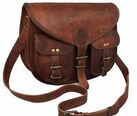 Vintage Leather Crossbody Messenger Bag Women Satchel Handbag Purse Shoulder