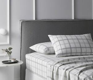 Accessorize Grids Grey/White Cotton Flannelette Sheet Set - QUEEN KING