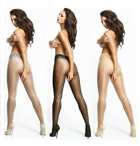 CROTCHLESS 20 DENIER SHEER GLOSS TIGHTS OPEN CROTCH GUSSET LACE BELT BY MISS O
