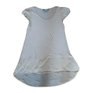 Dorothy Perkins Size 14 Beige Peach Cap Sleeve Jersey Chiffon Top