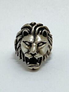 Vintage Heavy Sterling Silver Lion Head Ring Size 8.5