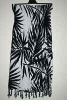 E-O Women's Black Mix Floral Beach Strapless Bandeau Dress Tassel Size S/M