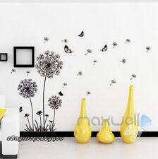 Black Dandelion Butterfly Wall Sticker Removable Decals Decor Kids Nursery Art