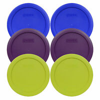 "Pyrex 7201-PC 6"" (2) Blue (2) Purple (2) Green Storage Lids 6PK for 4 Cup Bowl"