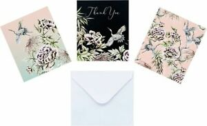 12 NOTECARDS - blank : thank you any message - notelets FLOWERS - FLORAL / BIRDS