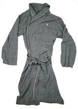 Polo Ralph Lauren men's bathrobe size small Gray plaid cotton With belt Soft!