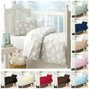 2 Pcs 100% Egyptian Cotton Baby Junior Cot Bed Duvet Cover & Pillowcase Set
