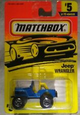 1996 Matchbox Action System #5 Blue Jeep Wrangler 4X4 New On Card