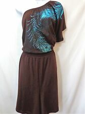 LANE BRYANT Brown Teal One Shoulder Shorts Romper Womens Size 22/24W 22W 24W NWT