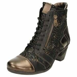 Remonte TEX D8794-02 Black Leather Ankle Boots Low Heel Lace Up Zip Shoes Punk
