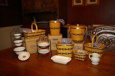 Longaberger - Jw collection, 6 minature baskets,4 pottery/rod iron sets