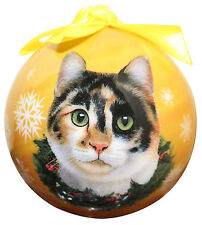 CALICO CAT CHRISTMAS BALL ORNAMENT HOLIDAY XMAS PET LOVERS GIFT