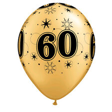 Party Supplies Decorations 60  Birthday 60th Sparkle Gold & Black Balloons pk 10