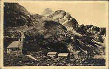 Meglisalp Appenzell alte Postkarte 1920 gelaufen Blick auf die Berge und Kapelle