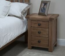 Tilson solid rustic oak bedroom furniture three drawer bedside cabinet