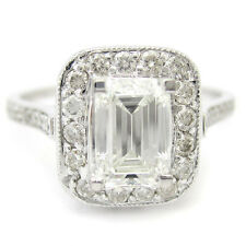 CERTIFIED EMERALD CUT ANTIQUE STYLE DIAMOND ENGAGEMENT RING STYLE#  E8