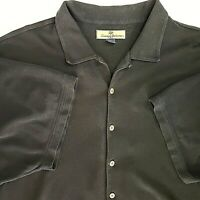 Tommy Bahama Mens 2X-Large Black Shirt Silk Cotton Button Up Short Sleeve Casual