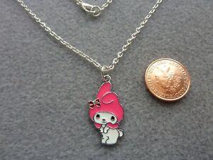 "My Melody Necklace 16"" Chain Kawaii Enamel Bunny Charm Pendant Birthday Gift"