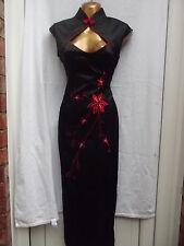 Oriental Nero Rosso Mandarino lungo vestito cinese 16