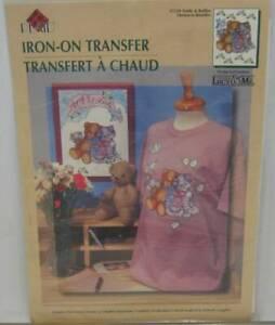 Teddy & Ruffles Iron-On Transfer Brown Bear Gray Striped Kitty Bluebird Flowers