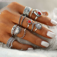 14 Stk Ringe Set Damen Boho Retro Fingerspitzen Knuckle Stapelring Fingerring
