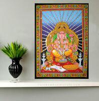 Lord Ganesh wall hanging hindu elephant god Ganesh sequin tapestry decor Indian