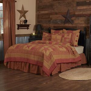VHC Brands Primitive King Quilt Red Patchwork Ninepatch Star Bedroom Decor
