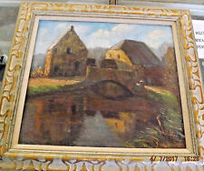 c1900 Dutch or French Oil Painting of a Mill & River Indistinct Signature