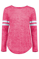 New Womens Burn Out Stripe Baseball Top Long Sleeve Sports Pullover T Shirts